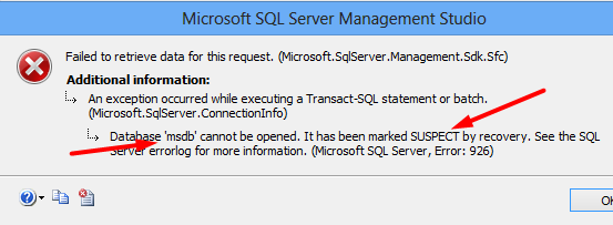 MSSQL MSDB database error suspect